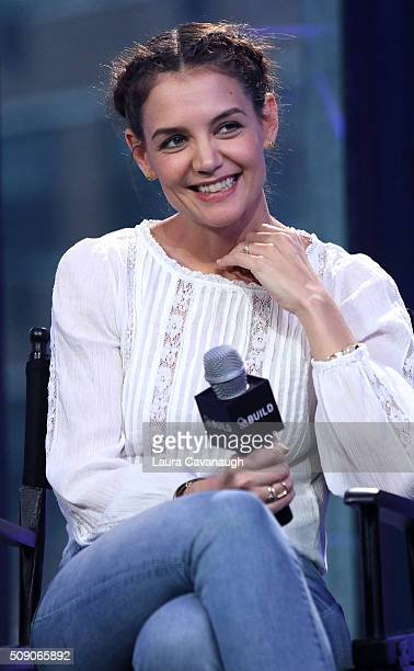 Katie Holmes attends AOL Build Speaker Series Katie Holmes Luke Kirby Griffin Dunne Christine Lahti and Paul Dalio 'Touched with Fire' at AOL Studios...