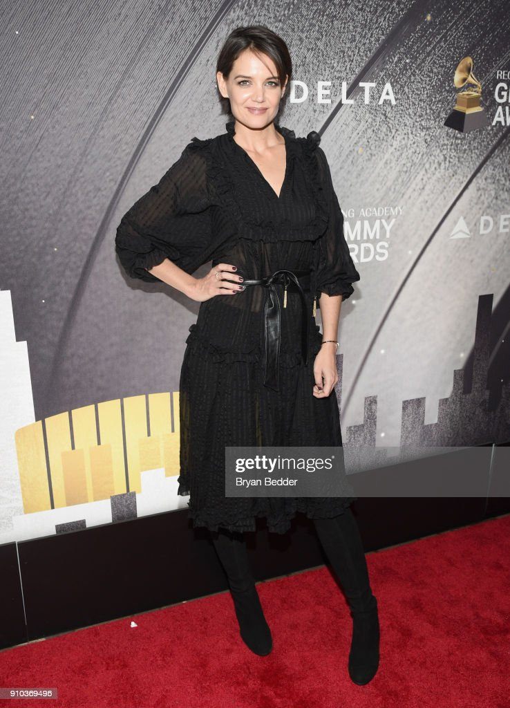 Katie Holmes attends Delta Air Lines, the Official Airline Partner of the GRAMMY Awards® and Supporter of First-Time Nominees hosted a private performance with Julia Michaels to celebrate the 60th Annual GRAMMY Awards with celebrity guests and friends, at The Bowery Hotel, January 25, 2018.