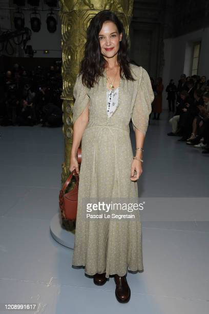 Katie Holmes attends the Chloe show as part of the Paris Fashion Week Womenswear Fall/Winter 2020/2021 on February 27 2020 in Paris France