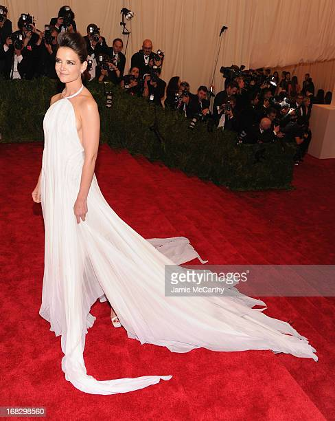Katie Holmes attends the Costume Institute Gala for the 'PUNK Chaos to Couture' exhibition at the Metropolitan Museum of Art on May 6 2013 in New...