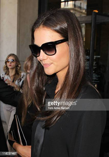 Katie Holmes attends the Giorgio Armani Prive Haute Couture Fall/Winter 2011/2012 show as part of Paris Fashion Week at Palais de Chaillot on July 5...