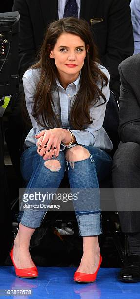Katie Holmes attends the Golden State Warriors vs New York Knicks game at Madison Square Garden on February 27 2013 in New York City
