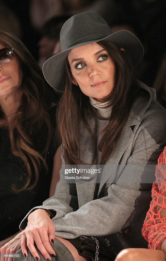 Katie Holmes attends the Marc Cain show during the Mercedes-Benz Fashion Week Berlin Autumn/Winter 2015/16 at Brandenburg Gate on January 20, 2015 in Berlin, Germany.