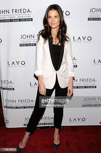 Katie Holmes attends the unvieling of The Decision a short film in support of the new Precision Foam Colour hosted by John Frieda and Katie Holmes at...