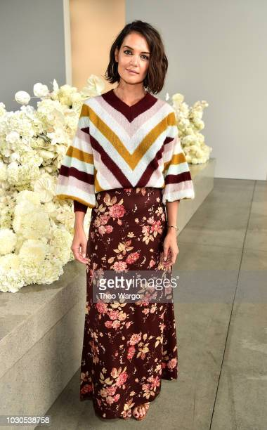 Katie Holmes attends the Zimmermann front row during New York Fashion Week The Shows at Gallery I at Spring Studios on September 10 2018 in New York...