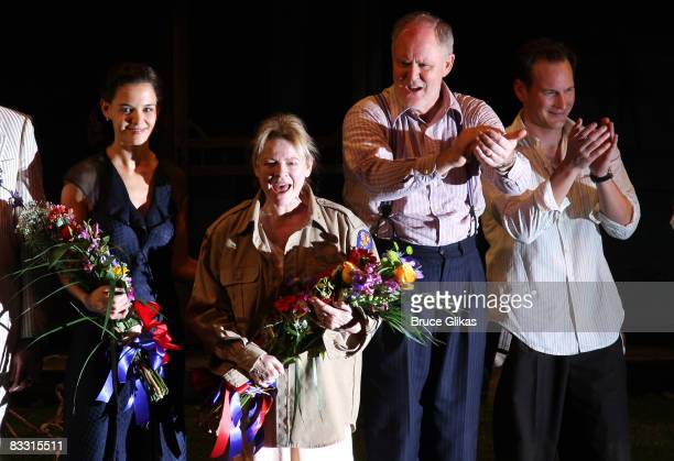 Katie Holmes Dianne Wiest John Lithgow and Patrick Wilson during The Opening Night curtain call for The revival of Arthur Miller's All My Sons on...