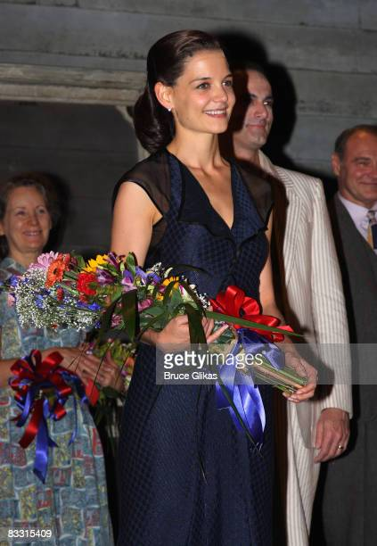 Katie Holmes during The Opening Night curtain call for The revival of Arthur Millers 'All My Sons' on Broadway at the Gerald Schoenfeld Theatre on...