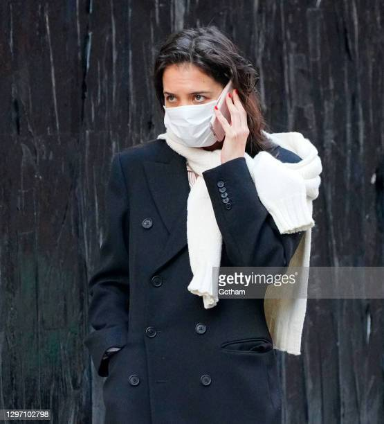 Katie Holmes go shopping in Soho on January 18, 2021 in New York City.