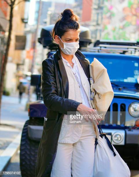 Katie Holmes heads to her art studio on January 07, 2021 in New York City.