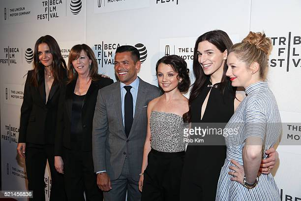 Katie Holmes Jane Rosenthal Mark Consuelos Stefania Owen Eve Lindley and Judy Greer attend the premiere of All We Had during the 2016 Tribeca Film...