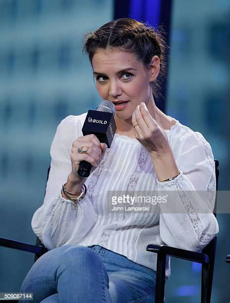 Katie Holmes of 'Touched with Fire' attend AOL Build Speaker Series at AOL Studios In New York on February 8 2016 in New York City