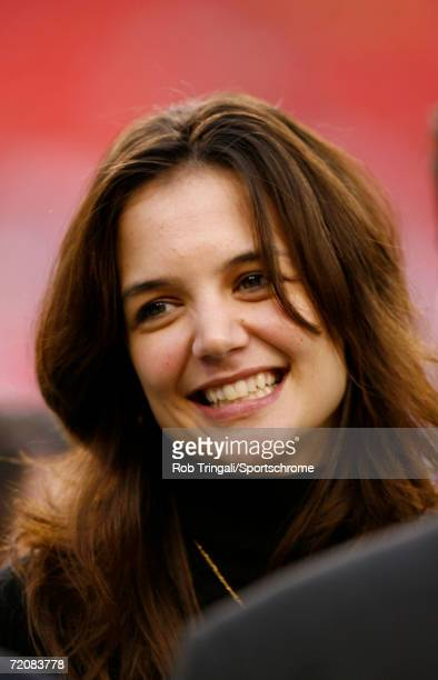 Katie Holmes on the field before a game between the Minnesota Vikings and the Washington Redskins at FedEx Field in Landover, Maryland. The Vikings...