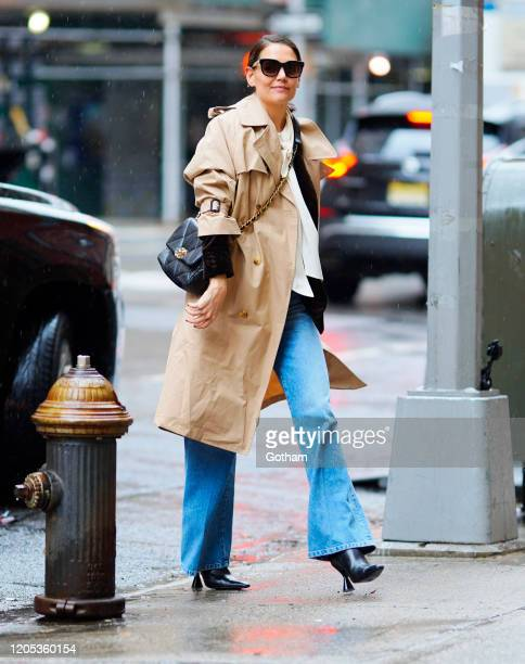 Katie Holmes out and about on February 10, 2020 in New York City.
