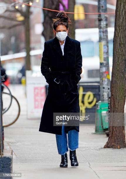 Katie Holmes out and about on January 08, 2021 in New York City.