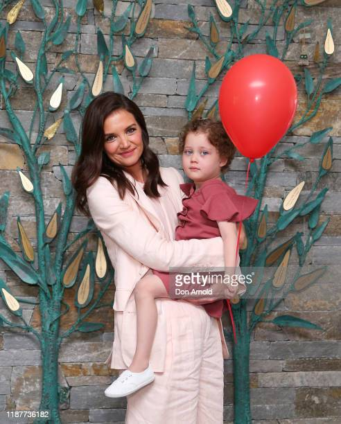 Katie Holmes poses with Ronald McDonald House resident Ellie Wild during a visit to Ronald McDonald House Westmead on November 15 2019 in Sydney...