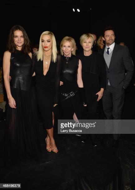 Katie Holmes, Rita Ora, Trudie Styler, Deborra-Lee Furness and Hugh Jackman attend the Donna Karan New York 30th Anniversary fashion show during...