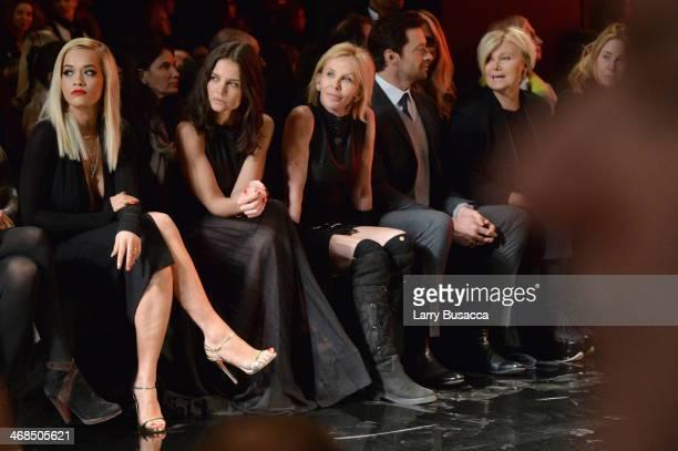 Katie Holmes, Rita Ora, Trudie Styler, Hugh Jackman and Deborra-Lee Furness attend the Donna Karan New York 30th Anniversary fashion show during...
