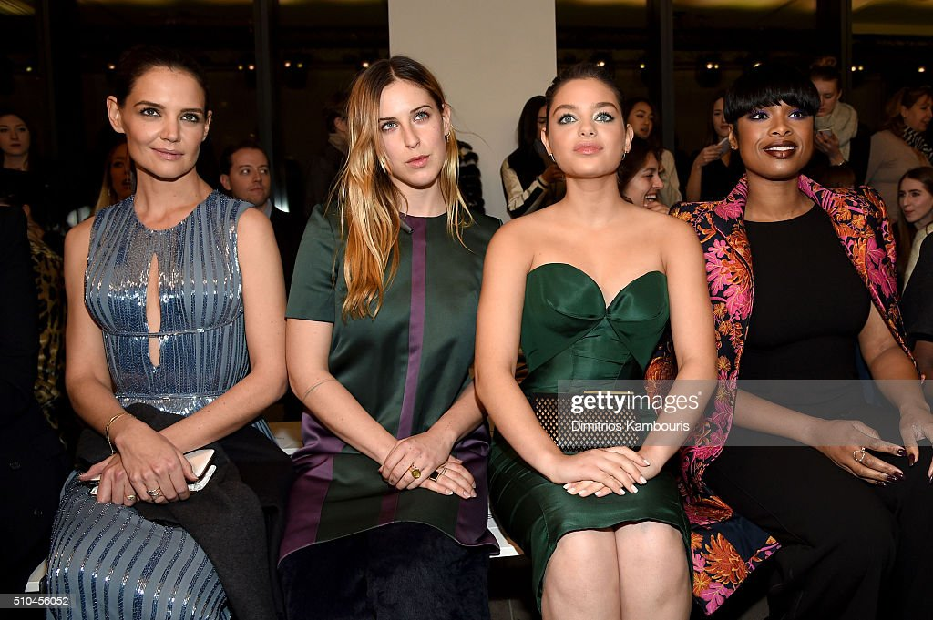 Katie Holmes, Scout Willis, Odeya Rush and Jennifer Hudson attend the Zac Posen Fall 2016 fashion show during New York Fashion Week at Spring Studios on February 15, 2016 in New York City.
