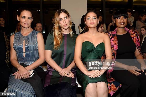 Katie Holmes Scout Willis Odeya Rush and Jennifer Hudson attend the Zac Posen Fall 2016 fashion show during New York Fashion Week at Spring Studios...