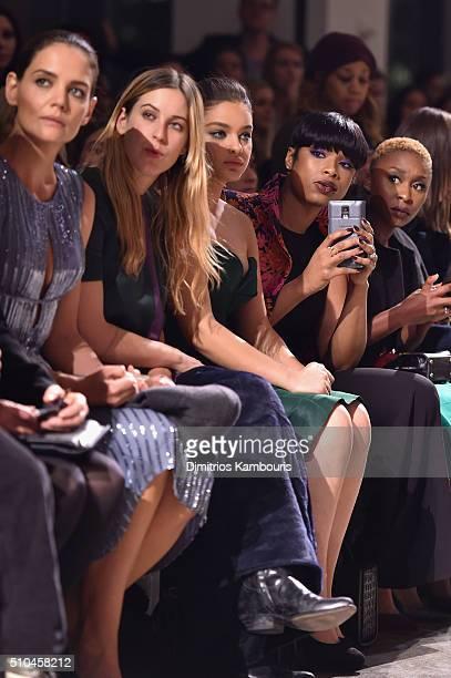 Katie Holmes Scout Willis Odeya Rush Jennifer Hudson and Cynthia Erivo attend the Zac Posen Fall 2016 fashion show during New York Fashion Week at...