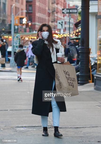 Katie Holmes seen on January 18, 2021 in New York City, New York.