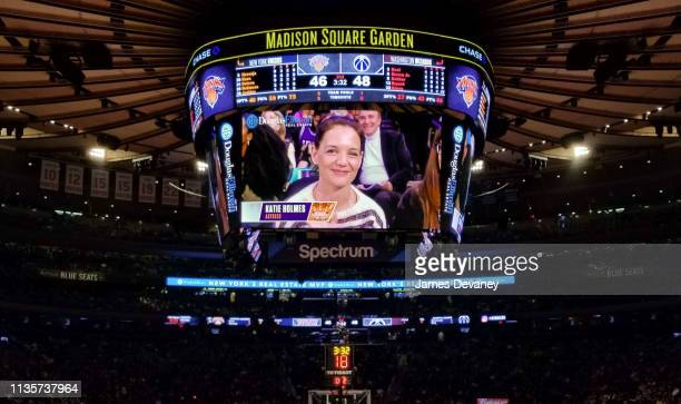 Katie Holmes seen on jumbotron at Washington Wizards v New York Knicks game at Madison Square Garden on April 7 2019 in New York City