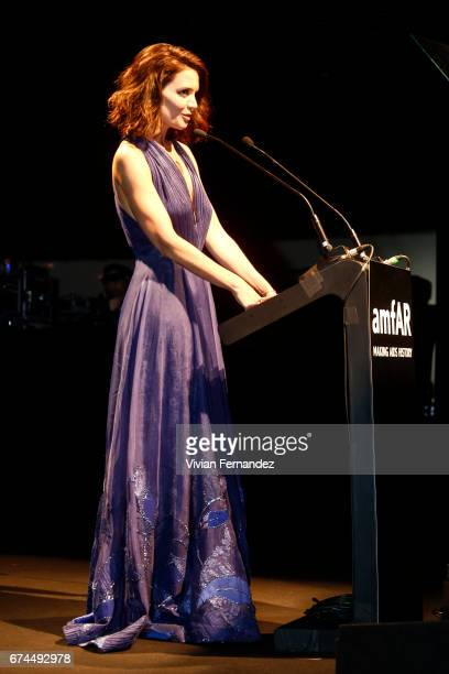 Katie Holmes speak onstage during the 7th Annual amfAR Inspiration Gala on April 27 2017 in Sao Paulo Brazil