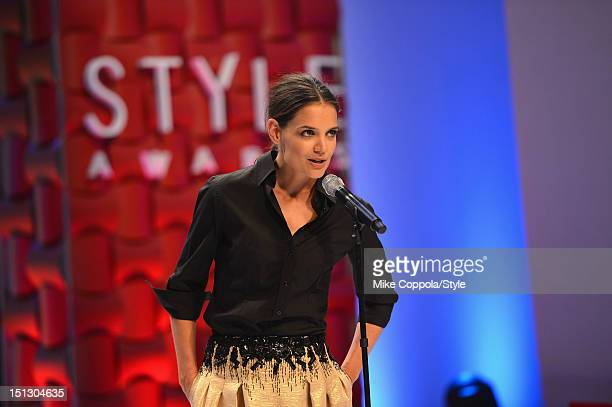 Katie Holmes speaks onstage during the 9th Annual Style Awards at Lincoln Center on September 5 2012 in New York City Tune in to 'The 9th Annual...