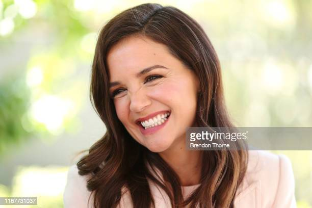 Katie Holmes speaks with families during a visit to Ronald McDonald House Westmead on November 15, 2019 in Sydney, Australia.