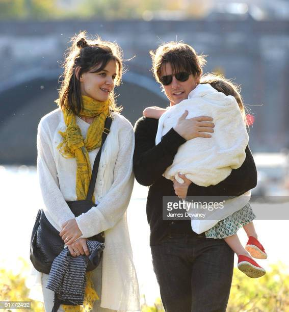 Katie Holmes Suri Cruise and Tom Cruise visit Charles River Basin on October 10 2009 in Cambridge Massachusetts
