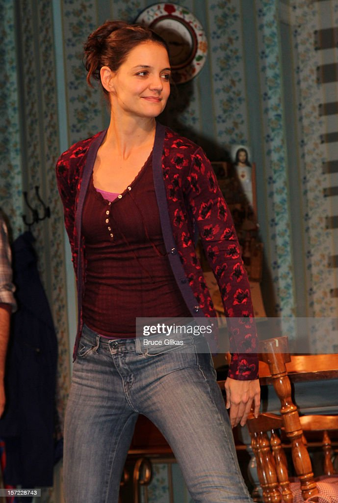Katie Holmes takes her curtain call on Opening Night of 'Dead Accounts' on Broadway at The Music Box Theatre on November 29, 2012 in New York City.