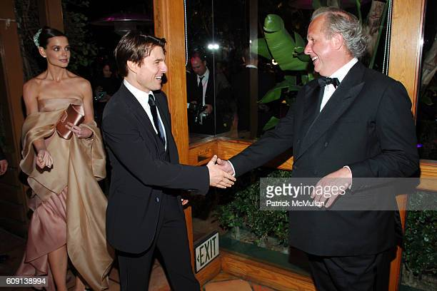 Katie Holmes Tom Cruise and Graydon Carter attend VANITY FAIR Oscar Party at Morton's on February 25 2007 in Los Angeles CA