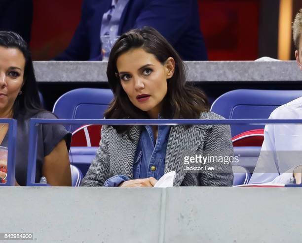 Katie Holmes watches Venus Williams v Sloane Stephens US Open Tennis Championships at Arthur Ashe Stadium on September 7 2017 in New York City