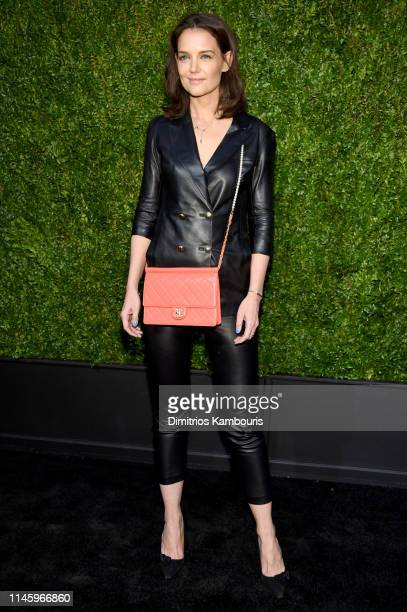 Katie Holmes, wearing CHANEL, attends as CHANEL hosts 14th Annual Tribeca Film Festival Artists Dinner at Balthazar on April 29, 2019 in New York...