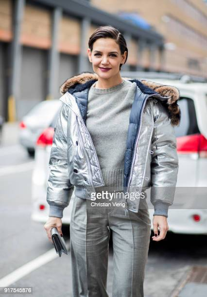 Katie Holmes wearing silver jacket outside Ralph Lauren seen on February 12 2018 in New York City