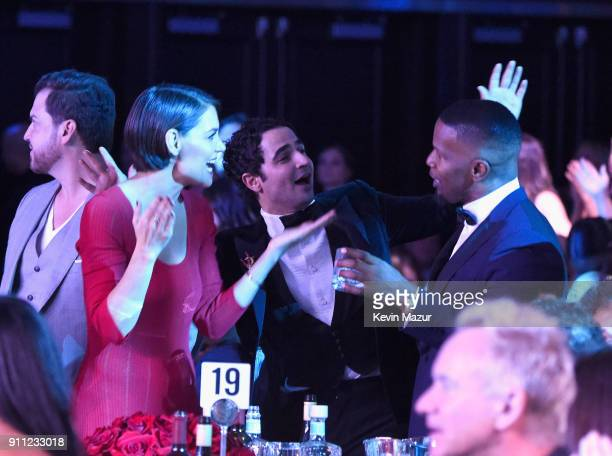 Katie Holmes Zac Posen and Jamie Foxx attend the Clive Davis and Recording Academy PreGRAMMY Gala and GRAMMY Salute to Industry Icons Honoring JayZ...