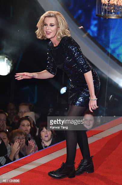Katie Hopkins enters the Celebrity Big Brother house at Elstree Studios on January 7 2015 in Borehamwood England