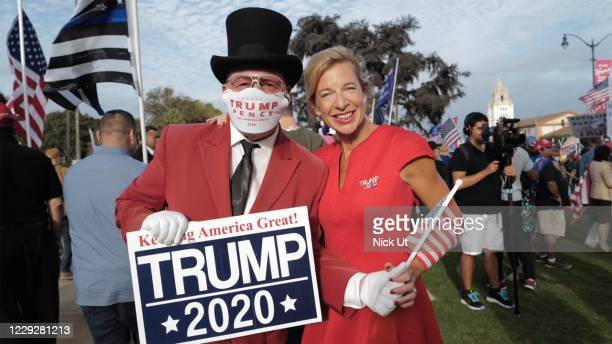 Katie Hopkins is seen at a rally for President Donald Trump on October 24, 2020 in Los Angeles, California.