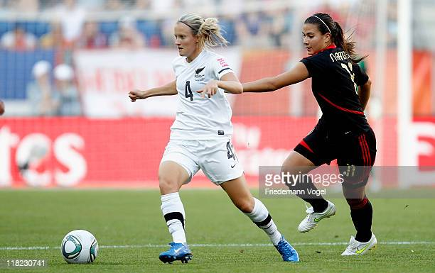Katie Hoyle of New Zealand and Nayeli Rangel of Mexico battle for the ball during the FIFA Women's World Cup 2011 Group B match between New Zealand...