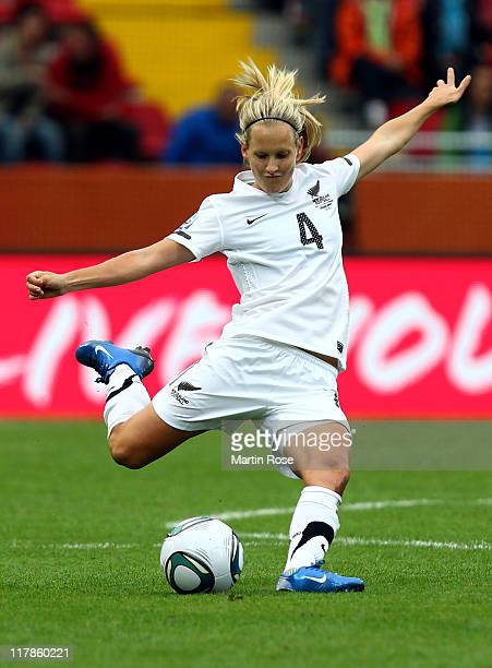 Katie Hoyle of New Zealand runs with the ball during the FIFA Women's World Cup 2011 Group B match between New Zealand and England at...