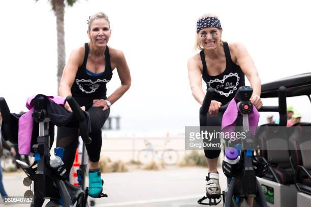 Katie Hyde and Angela Bennet ride at the 6th Annual Tour de Pier at Manhattan Beach Pier on May 20 2018 in Manhattan Beach California