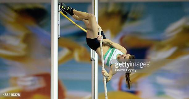 Katie James competes in the womens pole vault final during the Sainsbury's British Athletics Indoor Championships at English Institute of Sport on...