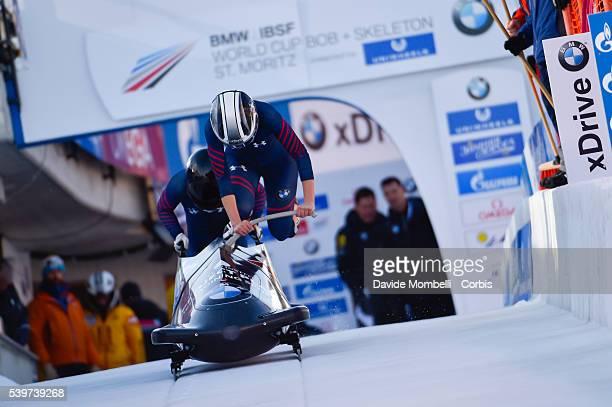 Katie Jones Kehri in action during the start BMW IBSF World Cup Bob 2 women 2015/2016 St Moritz Swiss