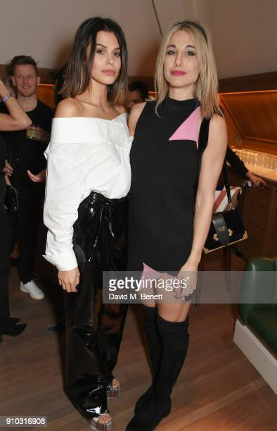 Katie Keight and Sophie Ball attend the launch of Teresa Tarmey's new 'at home facial system' at Mortimer House sponsored by CIROC on January 25 2018...