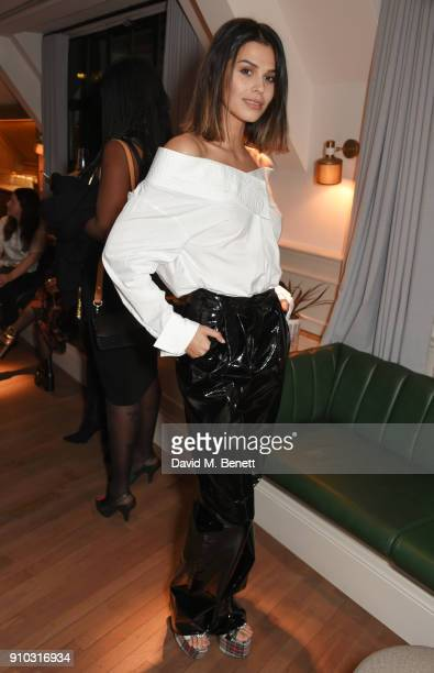 Katie Keight attends the launch of Teresa Tarmey's new 'at home facial system' at Mortimer House sponsored by CIROC on January 25 2018 in London...