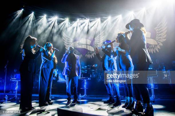 Katie Kissoon, Shirley Lewis, Lincoln Jean-Marie, Jo Garland, Dee Lewis Clay and Jay Henry perform during Cowboys & Angels: An Evening Celebrating...
