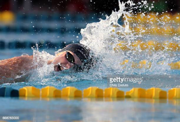 Katie Ledecky competes in the finals of the women's 400 meter freestyle on day one of the Arena Pro Swim Series Mesa at Skyline Aquatic Center on...