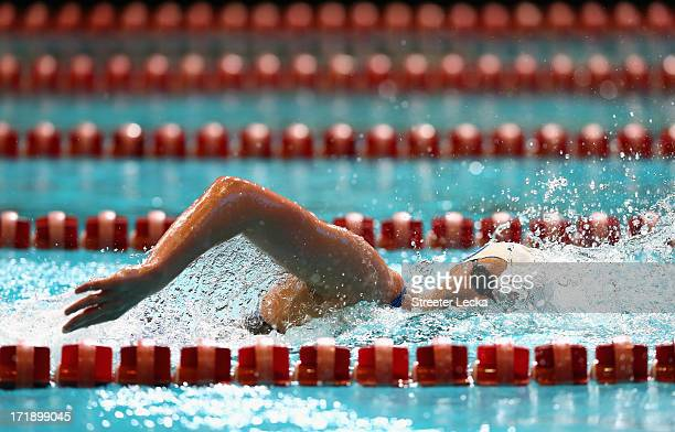 Katie Ledecky competes in the women's 1500m freestyle finals on day 5 of the 2013 USA Swimming Phillips 66 National Championships and World Trials at...