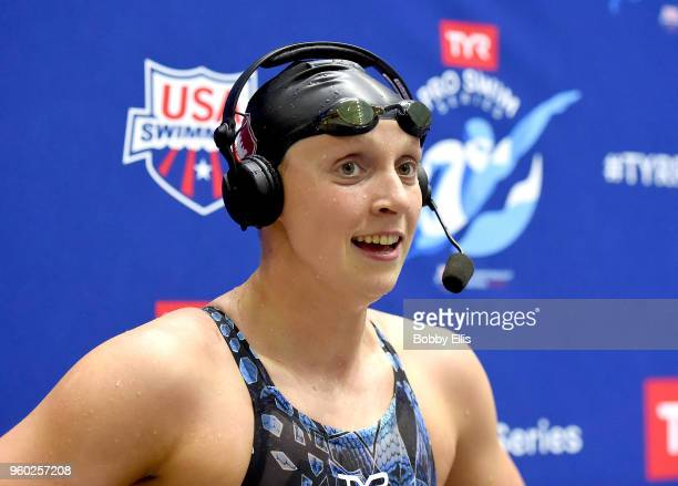 Katie Ledecky is interviewed after winning the women's 800 meter freestyle final during the fourth day of TYR Pro Swim Series at Indiana University...