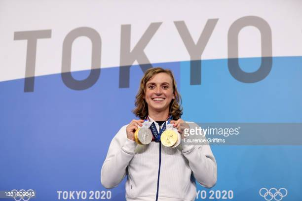 Katie Ledecky of Team USA poses with her two Gold and two Silver medals after a giving a press conference to the media during the Tokyo Olympic Games...